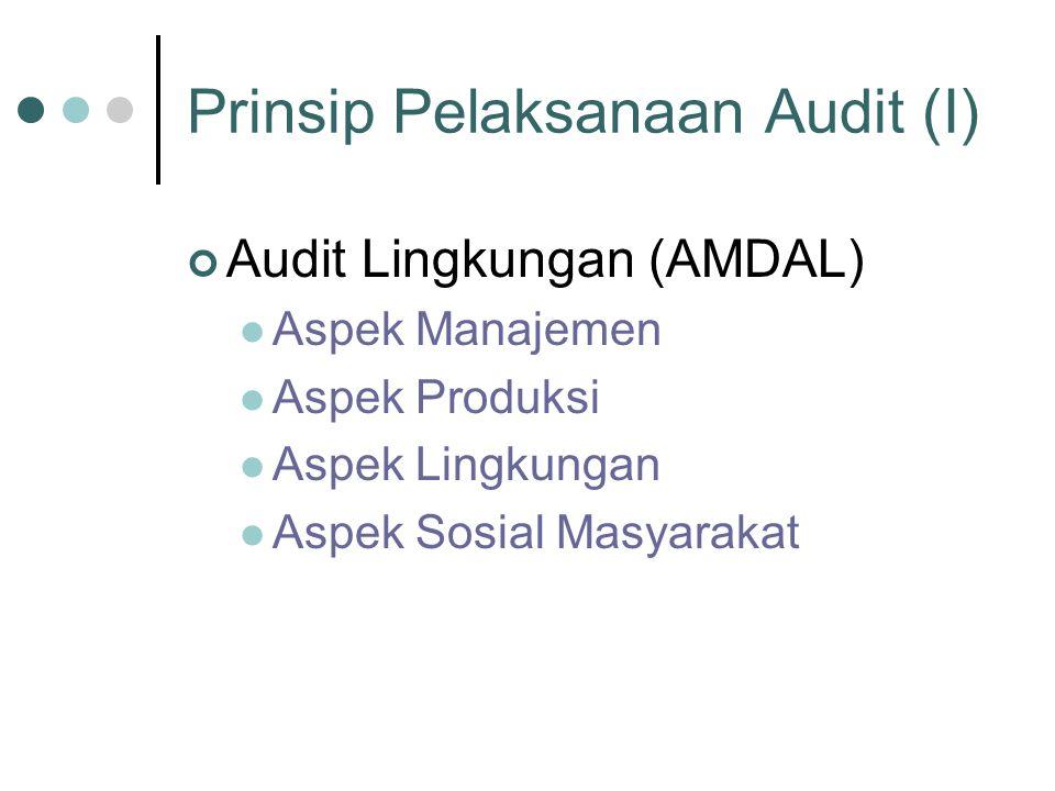 Prinsip Pelaksanaan Audit (I) Audit Lingkungan (AMDAL) Aspek Manajemen Aspek Produksi Aspek Lingkungan Aspek Sosial Masyarakat