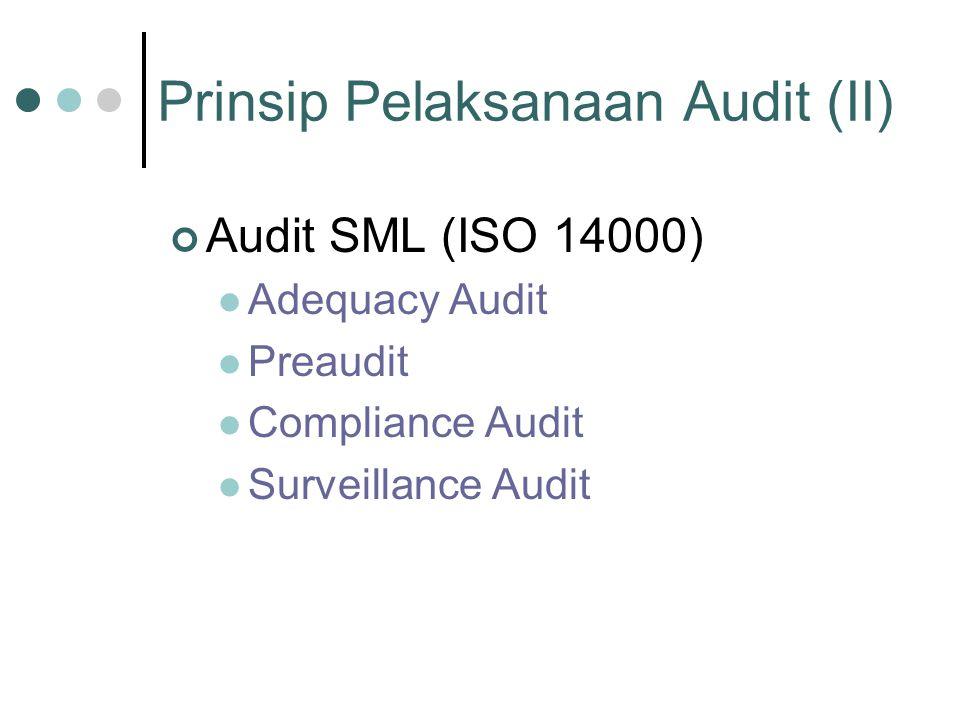 Prinsip Pelaksanaan Audit (II) Audit SML (ISO 14000) Adequacy Audit Preaudit Compliance Audit Surveillance Audit