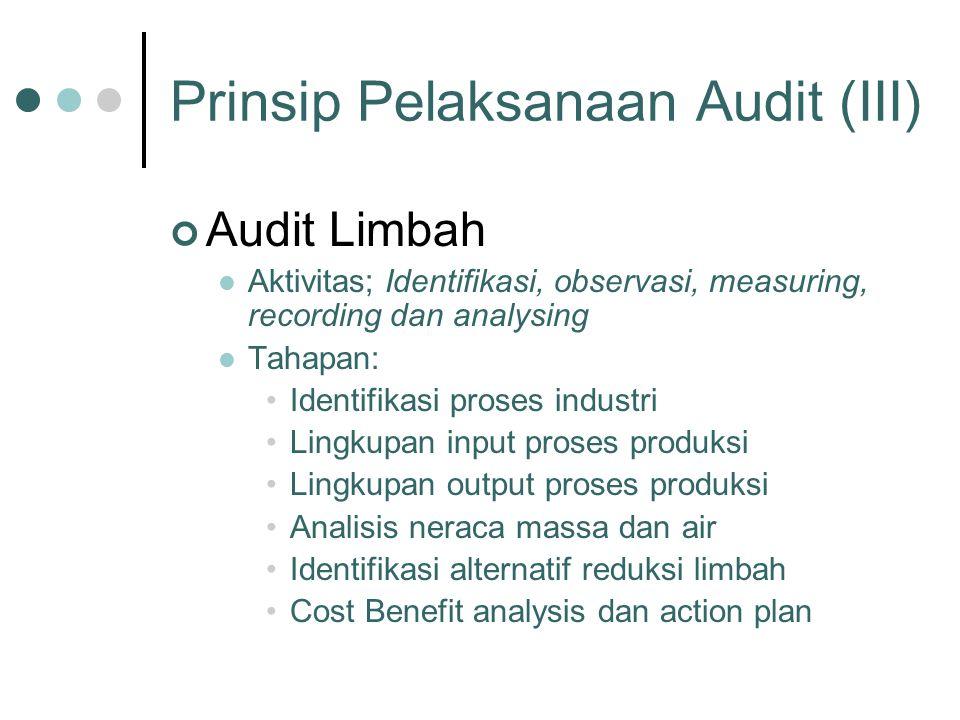 Prinsip Pelaksanaan Audit (III) Audit Limbah Aktivitas; Identifikasi, observasi, measuring, recording dan analysing Tahapan: Identifikasi proses indus