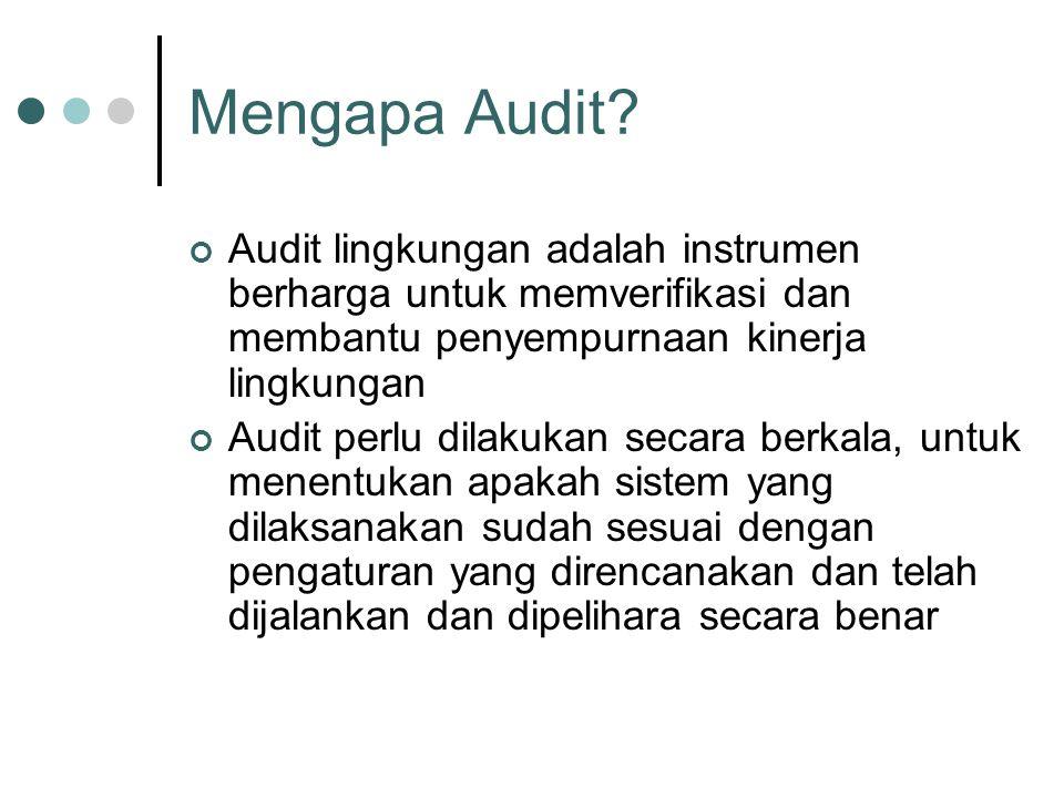 Mengapa Audit? Audit lingkungan adalah instrumen berharga untuk memverifikasi dan membantu penyempurnaan kinerja lingkungan Audit perlu dilakukan seca