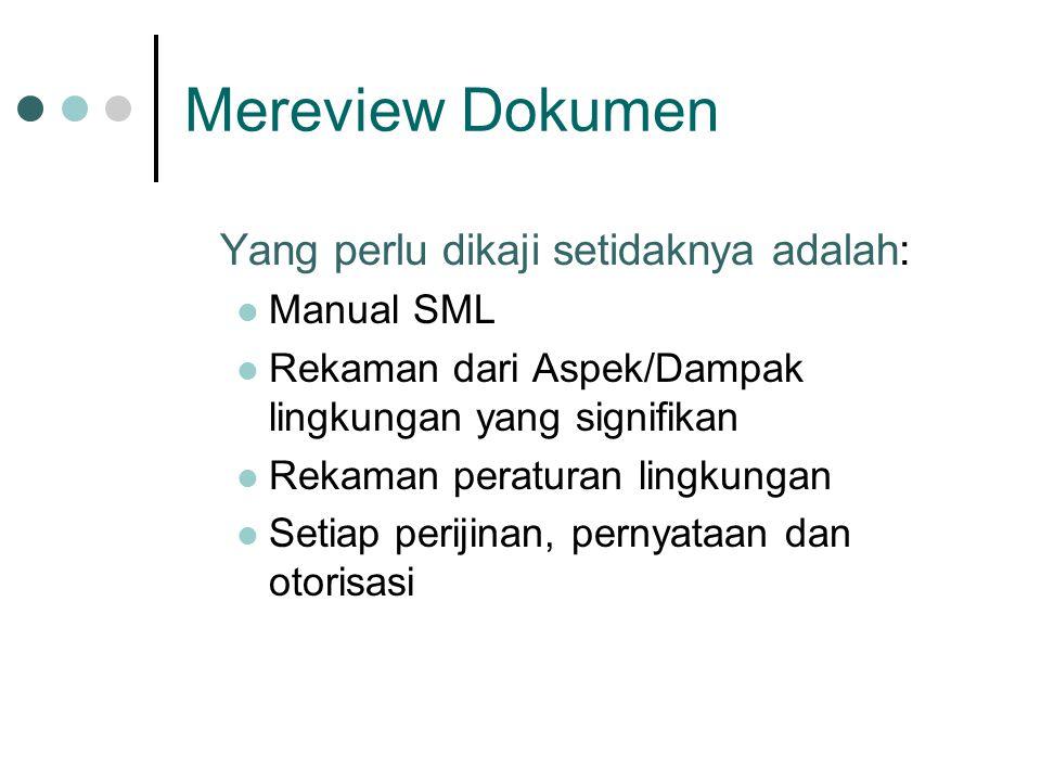 Mereview Dokumen Yang perlu dikaji setidaknya adalah: Manual SML Rekaman dari Aspek/Dampak lingkungan yang signifikan Rekaman peraturan lingkungan Setiap perijinan, pernyataan dan otorisasi