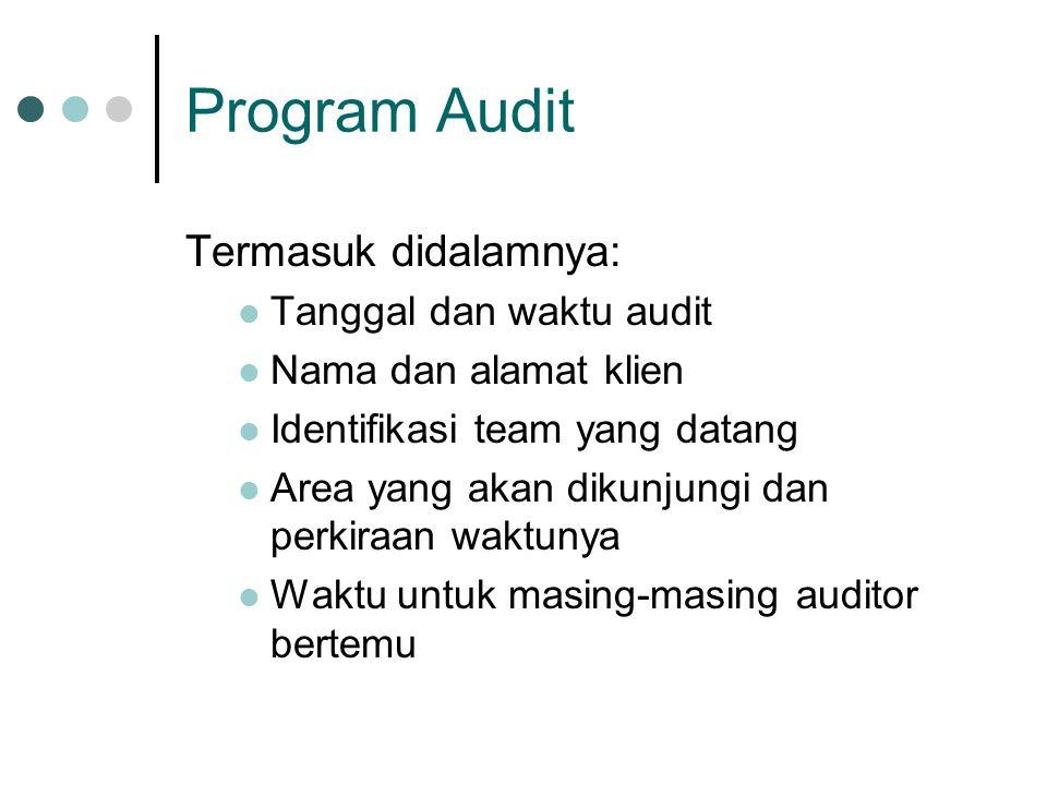 Program Audit Termasuk didalamnya: Tanggal dan waktu audit Nama dan alamat klien Identifikasi team yang datang Area yang akan dikunjungi dan perkiraan waktunya Waktu untuk masing-masing auditor bertemu