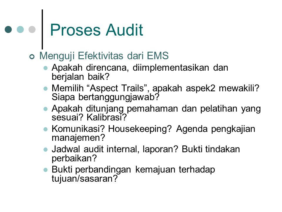 Proses Audit Menguji Efektivitas dari EMS Apakah direncana, diimplementasikan dan berjalan baik.