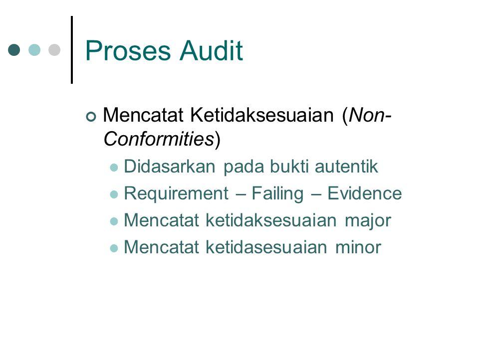 Proses Audit Mencatat Ketidaksesuaian (Non- Conformities) Didasarkan pada bukti autentik Requirement – Failing – Evidence Mencatat ketidaksesuaian major Mencatat ketidasesuaian minor