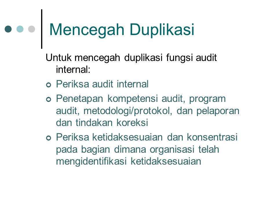 Mencegah Duplikasi Untuk mencegah duplikasi fungsi audit internal: Periksa audit internal Penetapan kompetensi audit, program audit, metodologi/protokol, dan pelaporan dan tindakan koreksi Periksa ketidaksesuaian dan konsentrasi pada bagian dimana organisasi telah mengidentifikasi ketidaksesuaian