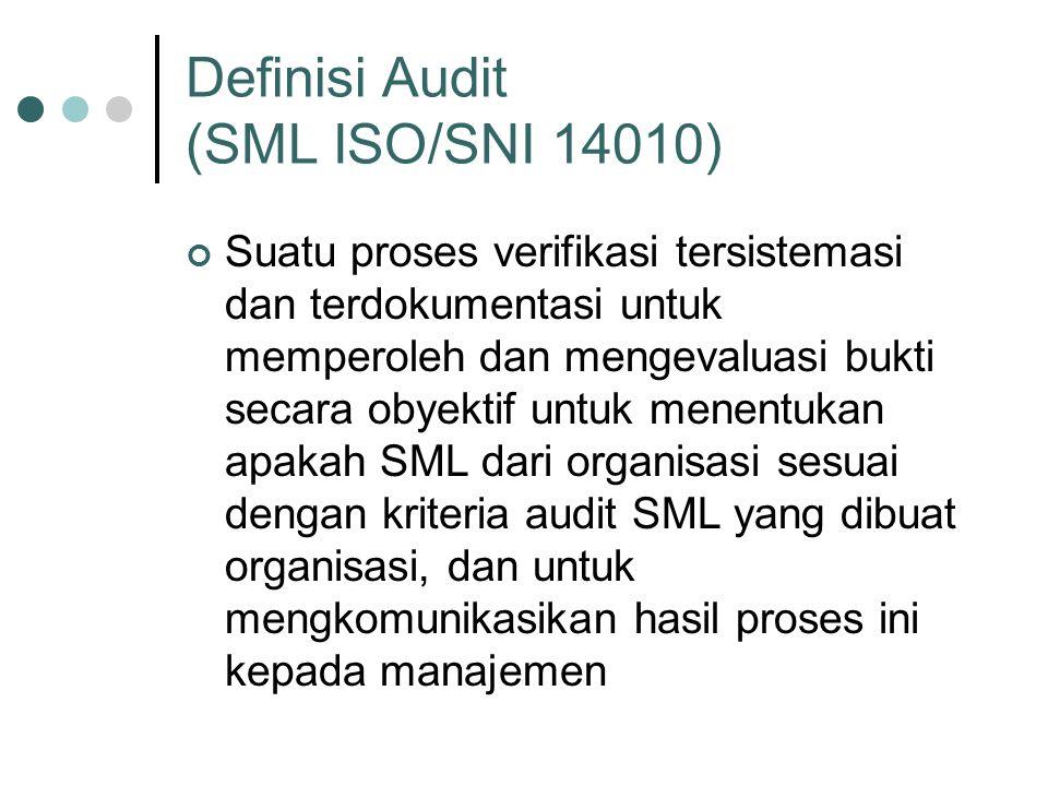 Definisi Audit (SML ISO/SNI 14010) Suatu proses verifikasi tersistemasi dan terdokumentasi untuk memperoleh dan mengevaluasi bukti secara obyektif untuk menentukan apakah SML dari organisasi sesuai dengan kriteria audit SML yang dibuat organisasi, dan untuk mengkomunikasikan hasil proses ini kepada manajemen