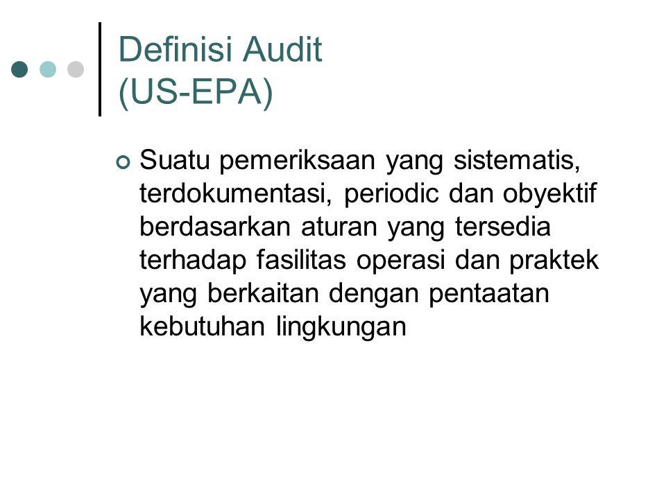 Definisi Audit (US-EPA) Suatu pemeriksaan yang sistematis, terdokumentasi, periodic dan obyektif berdasarkan aturan yang tersedia terhadap fasilitas operasi dan praktek yang berkaitan dengan pentaatan kebutuhan lingkungan