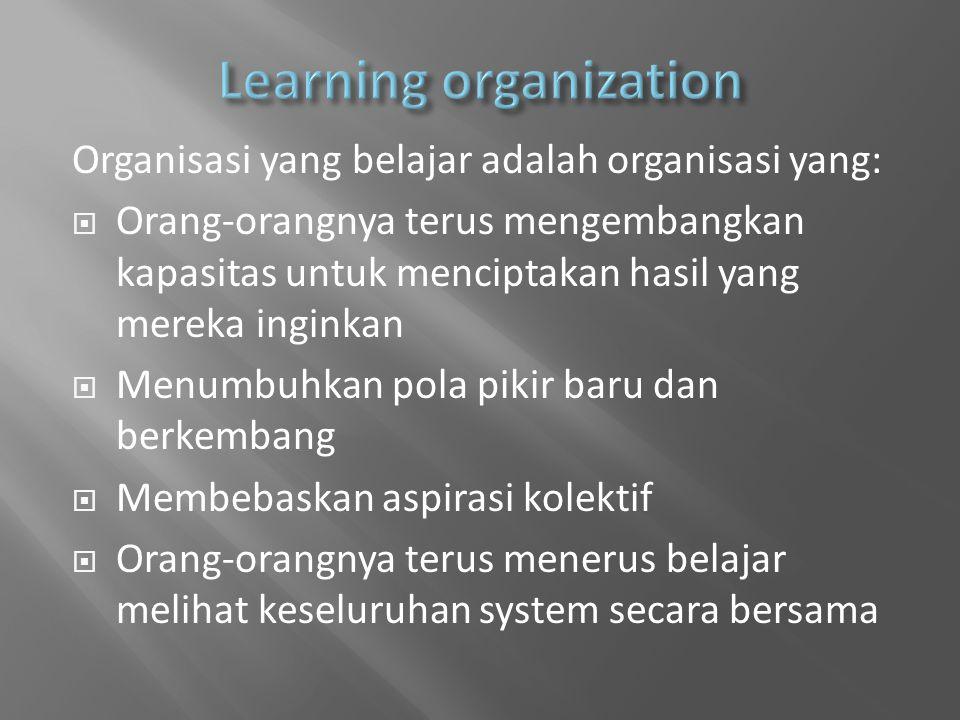 Organisasi yang belajar adalah organisasi yang:  Orang-orangnya terus mengembangkan kapasitas untuk menciptakan hasil yang mereka inginkan  Menumbuhkan pola pikir baru dan berkembang  Membebaskan aspirasi kolektif  Orang-orangnya terus menerus belajar melihat keseluruhan system secara bersama