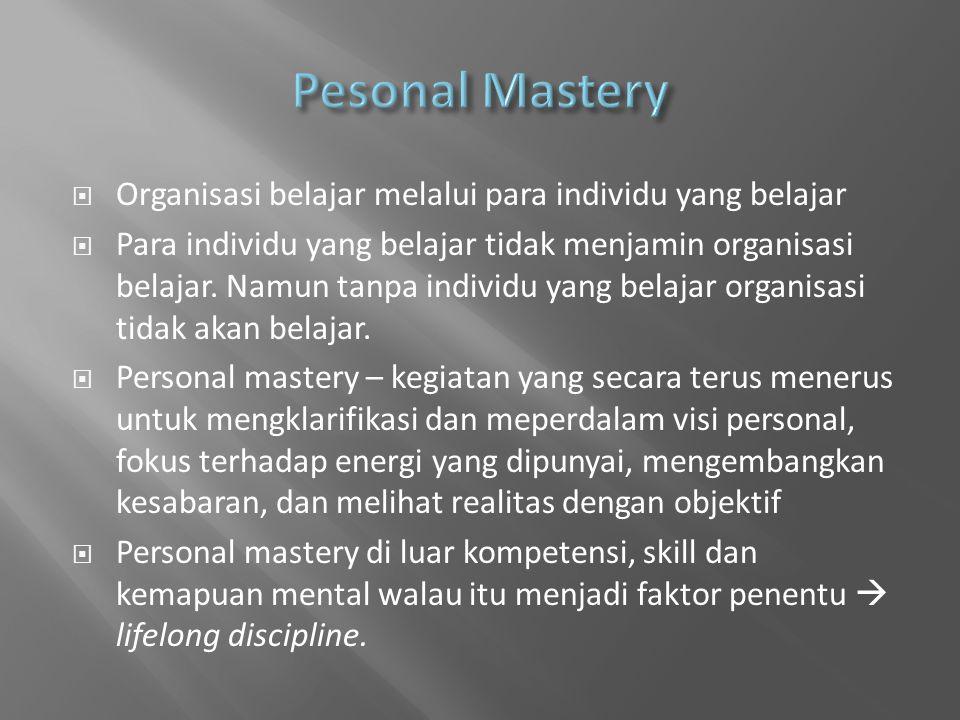  Organisasi belajar melalui para individu yang belajar  Para individu yang belajar tidak menjamin organisasi belajar.
