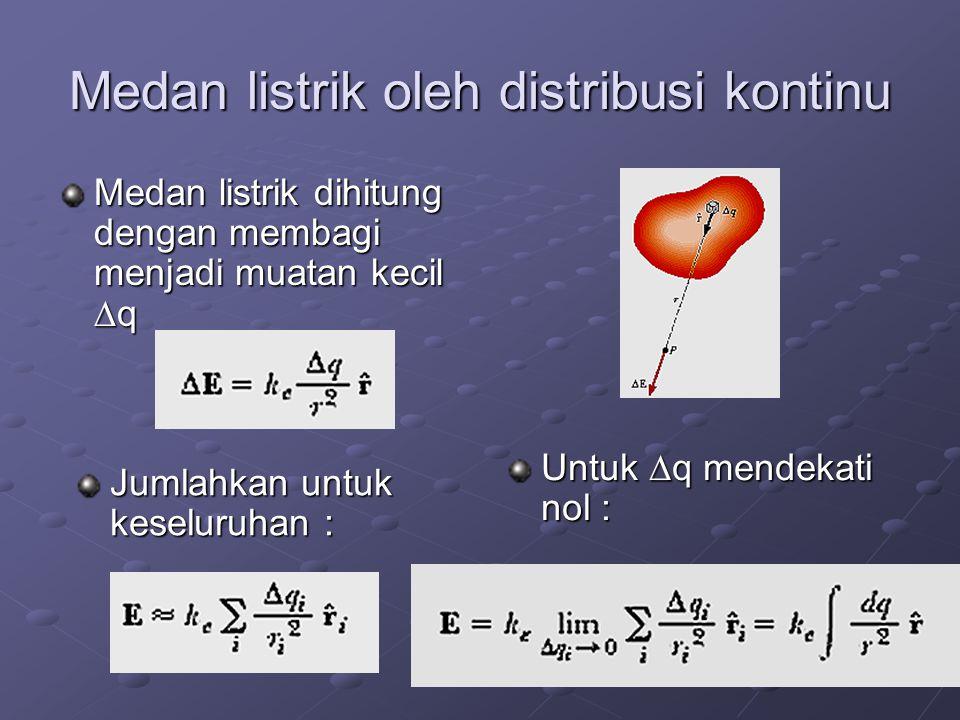 Medan listrik oleh distribusi kontinu Medan listrik dihitung dengan membagi menjadi muatan kecil  q Jumlahkan untuk keseluruhan : Untuk  q mendekati