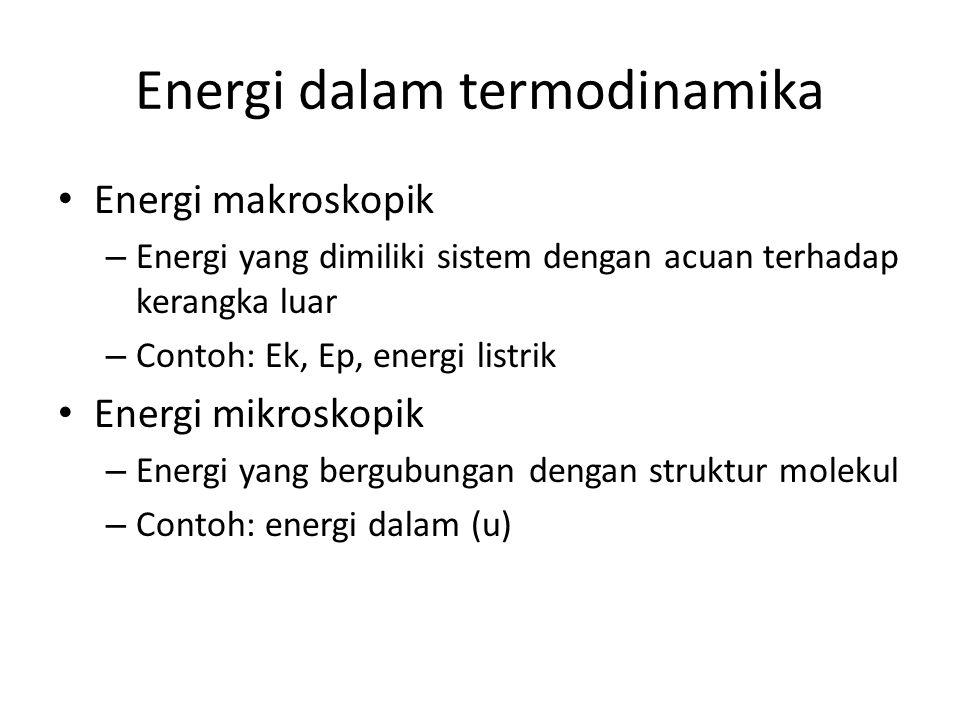 Energi dalam termodinamika Energi makroskopik – Energi yang dimiliki sistem dengan acuan terhadap kerangka luar – Contoh: Ek, Ep, energi listrik Energ