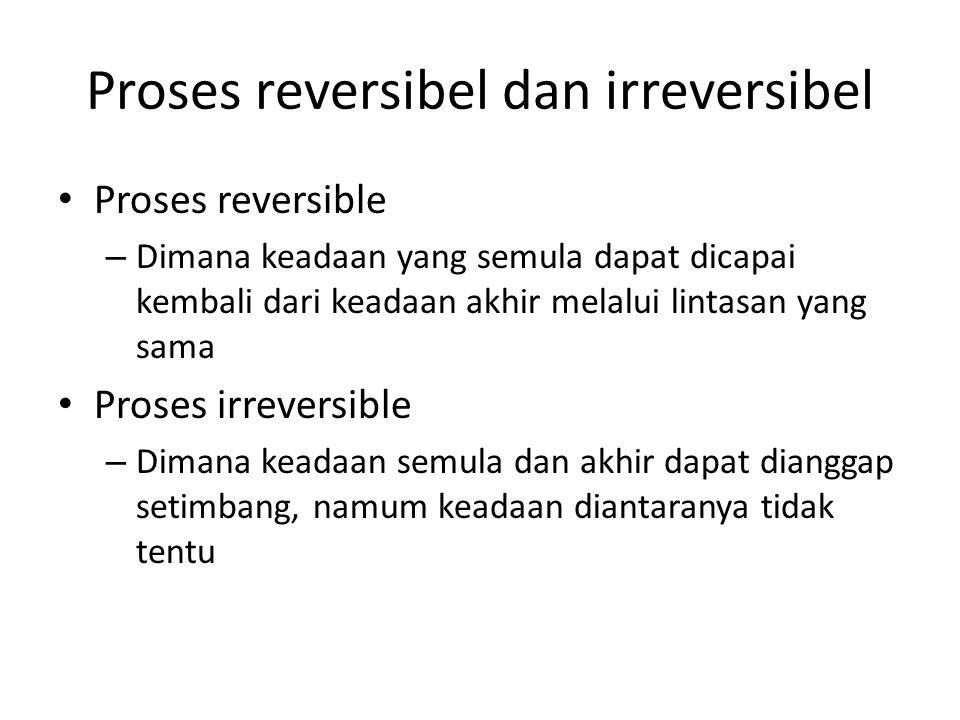 Proses reversibel dan irreversibel Proses reversible – Dimana keadaan yang semula dapat dicapai kembali dari keadaan akhir melalui lintasan yang sama