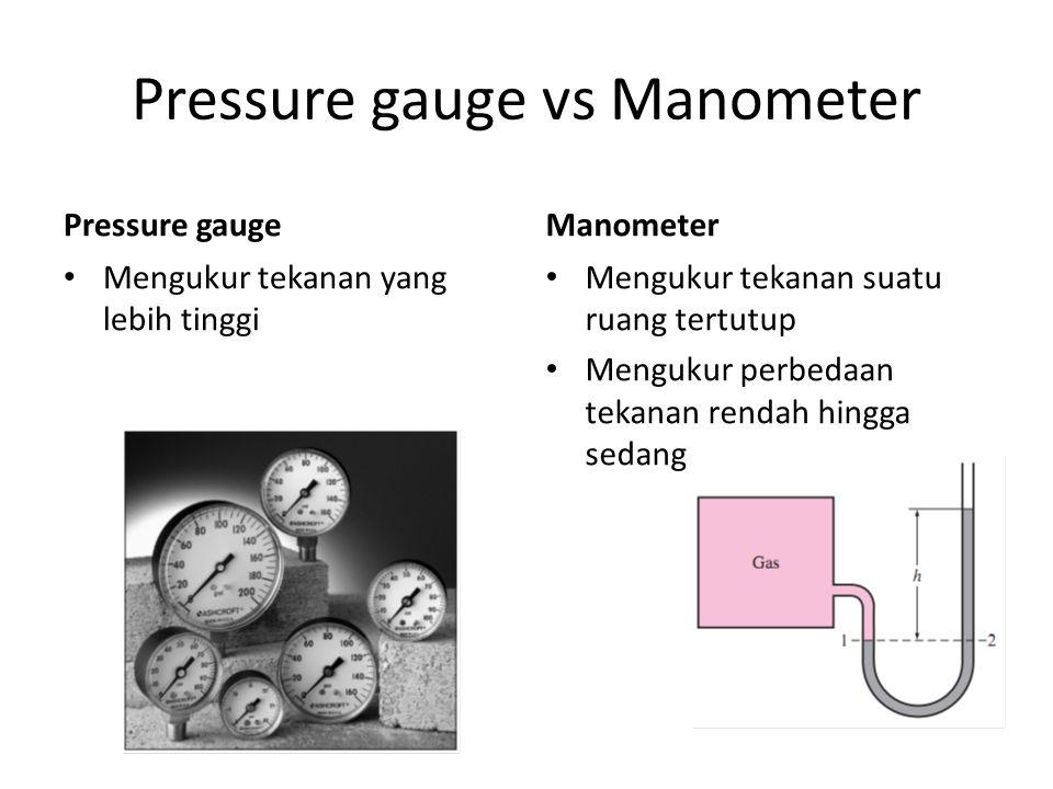 Pressure gauge vs Manometer Pressure gauge Mengukur tekanan yang lebih tinggi Manometer Mengukur tekanan suatu ruang tertutup Mengukur perbedaan tekan
