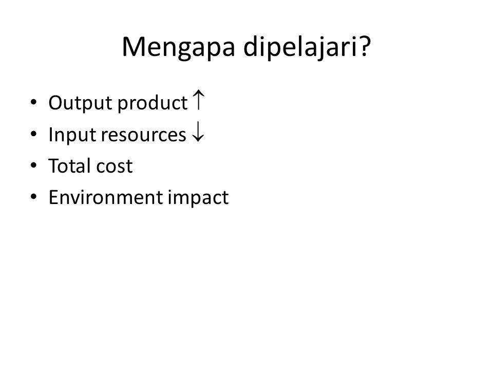Mengapa dipelajari? Output product  Input resources  Total cost Environment impact