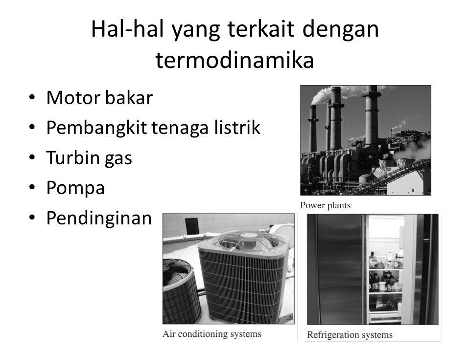 Hal-hal yang terkait dengan termodinamika Motor bakar Pembangkit tenaga listrik Turbin gas Pompa Pendinginan