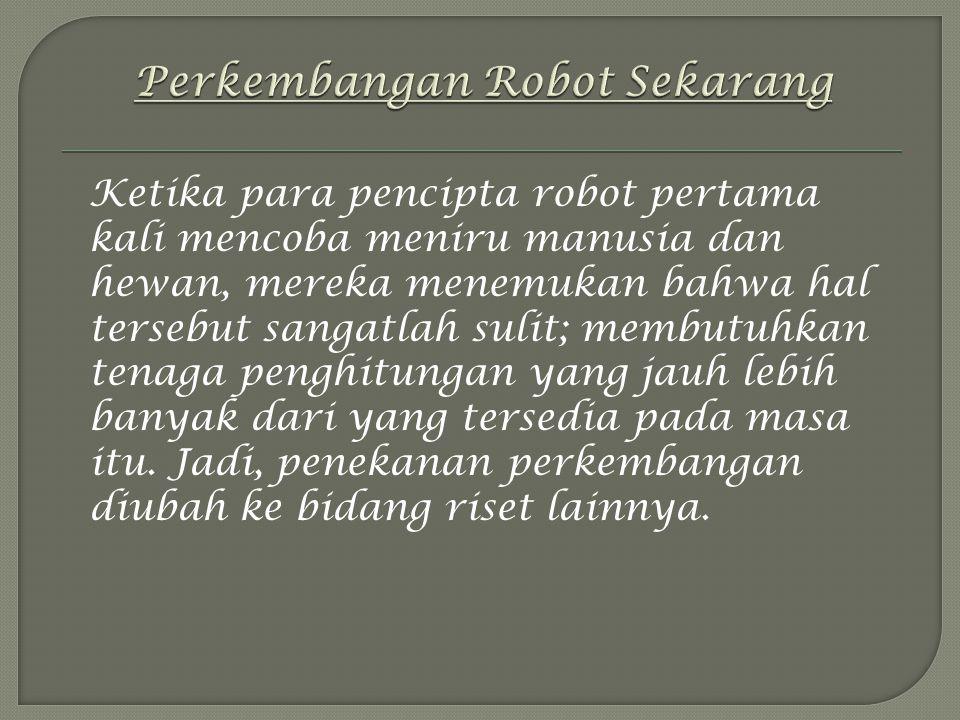 Ketika para pencipta robot pertama kali mencoba meniru manusia dan hewan, mereka menemukan bahwa hal tersebut sangatlah sulit; membutuhkan tenaga penghitungan yang jauh lebih banyak dari yang tersedia pada masa itu.