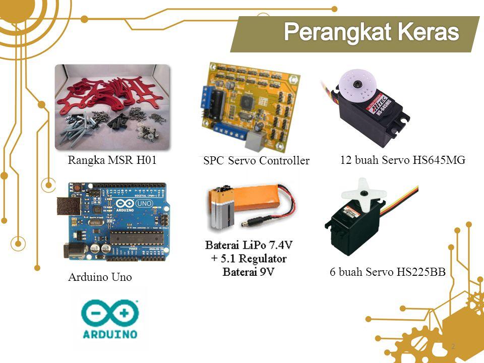 12 buah Servo HS645MG SPC Servo Controller Rangka MSR H01 Arduino Uno 6 buah Servo HS225BB 2