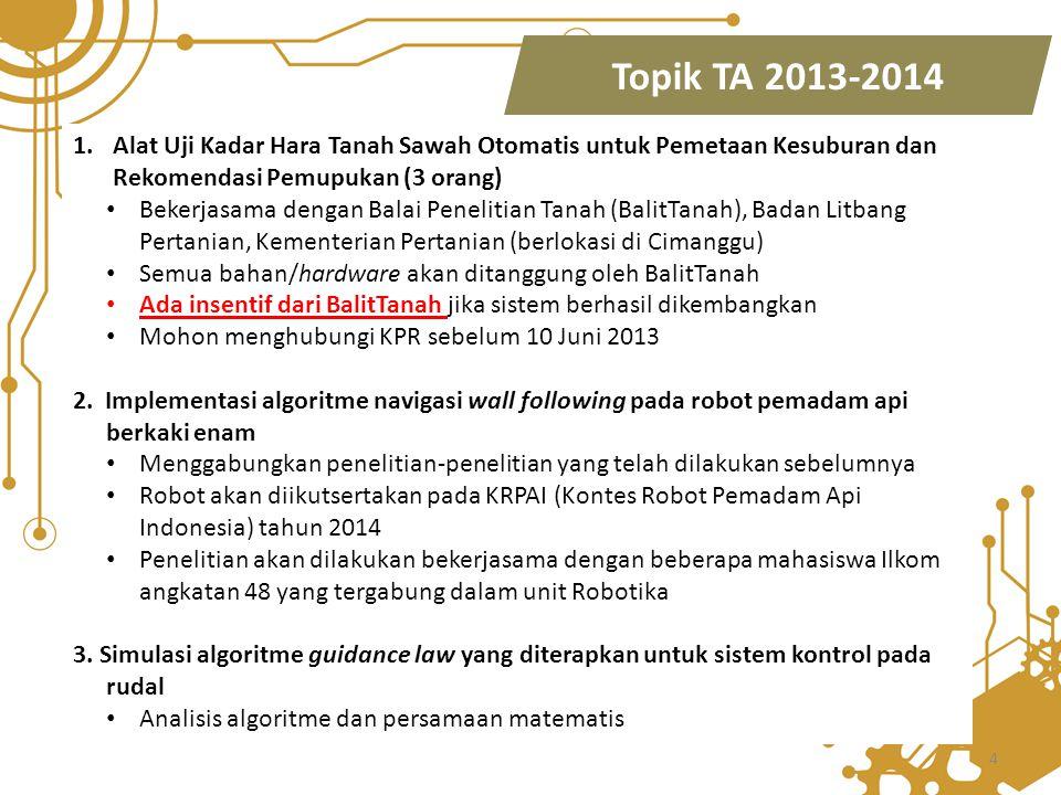 4 Topik TA 2013-2014 1.Alat Uji Kadar Hara Tanah Sawah Otomatis untuk Pemetaan Kesuburan dan Rekomendasi Pemupukan (3 orang) Bekerjasama dengan Balai