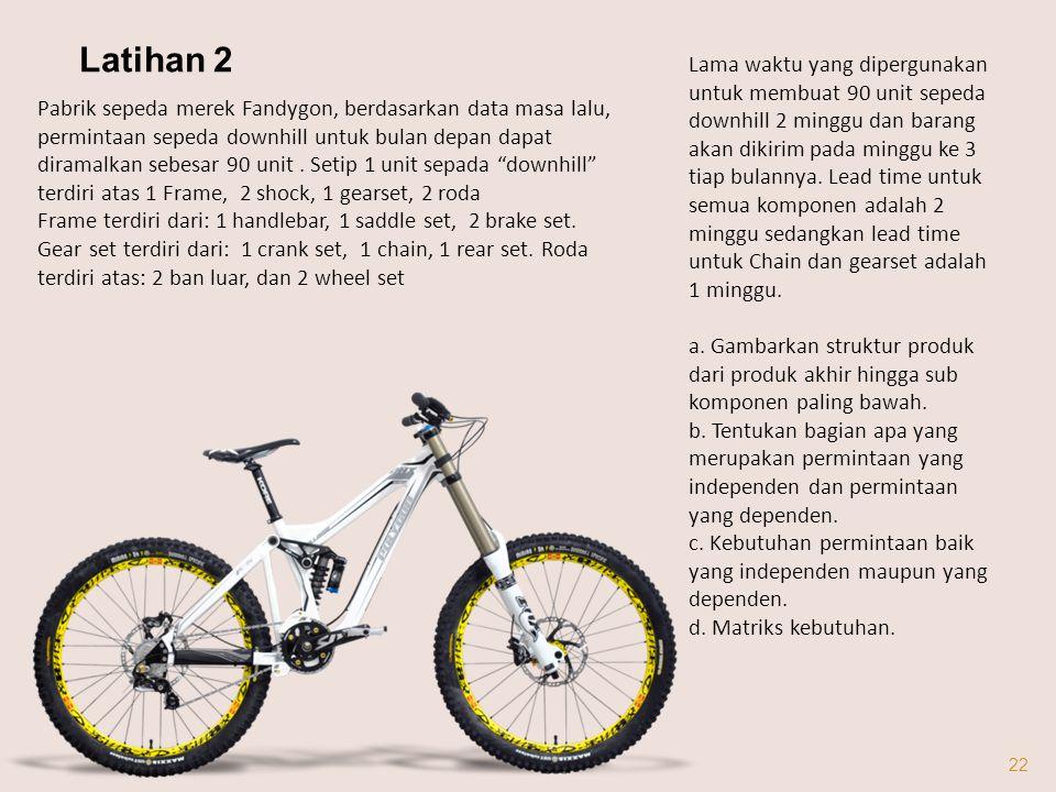 22 Pabrik sepeda merek Fandygon, berdasarkan data masa lalu, permintaan sepeda downhill untuk bulan depan dapat diramalkan sebesar 90 unit.