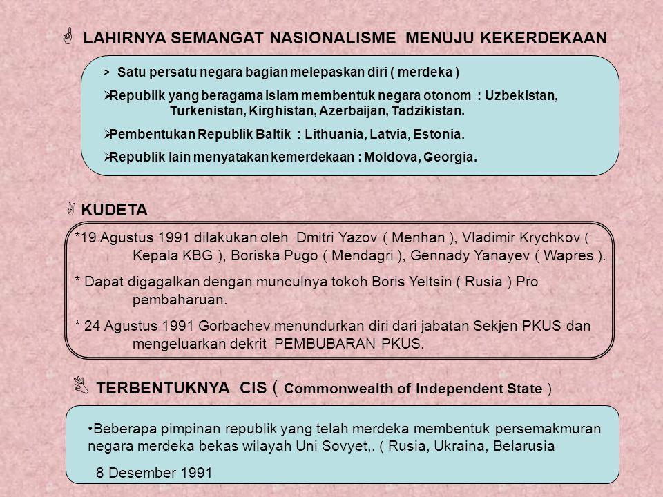  LAHIRNYA SEMANGAT NASIONALISME MENUJU KEKERDEKAAN > Satu persatu negara bagian melepaskan diri ( merdeka ) RRepublik yang beragama Islam membentuk
