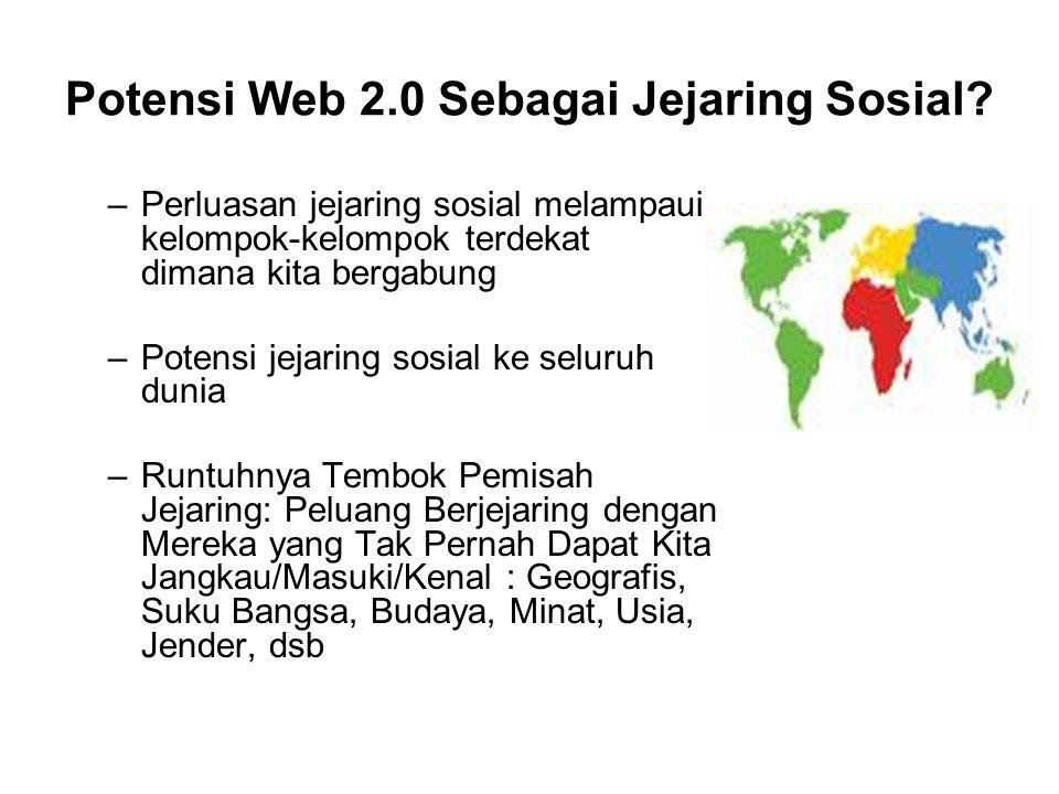 Potensi Web 2.0 Sebagai Jejaring Sosial? –Perluasan jejaring sosial melampaui kelompok-kelompok terdekat dimana kita bergabung –Potensi jejaring sosia