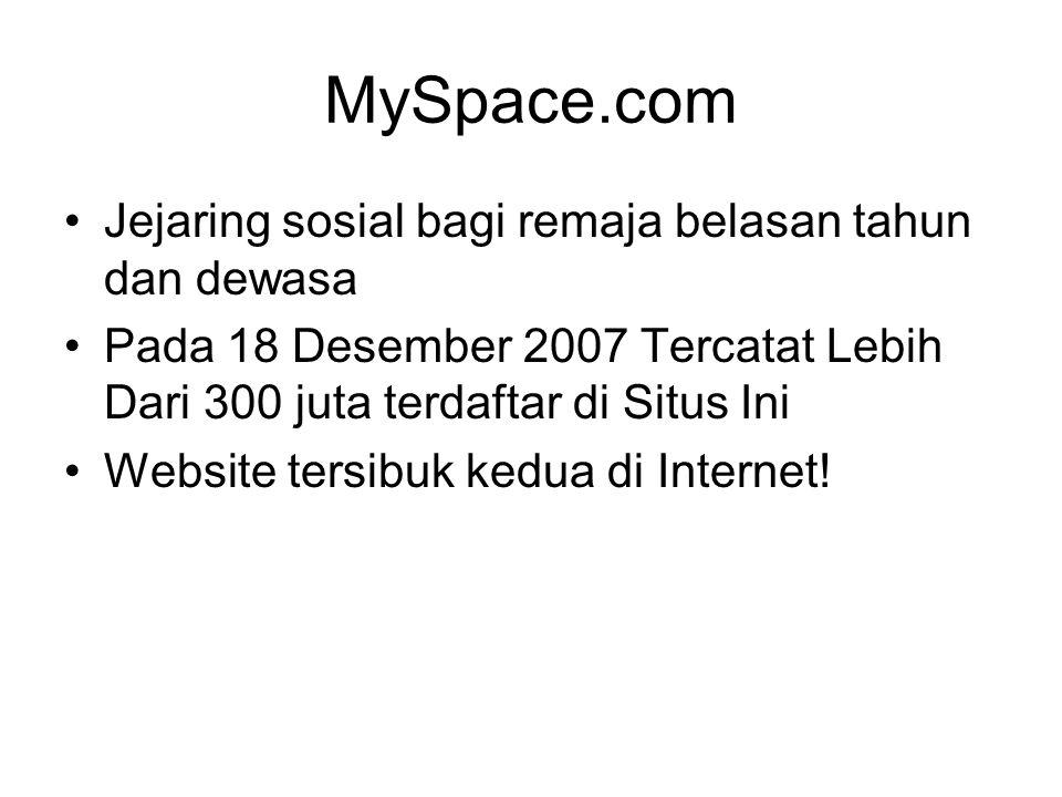MySpace.com Jejaring sosial bagi remaja belasan tahun dan dewasa Pada 18 Desember 2007 Tercatat Lebih Dari 300 juta terdaftar di Situs Ini Website ter