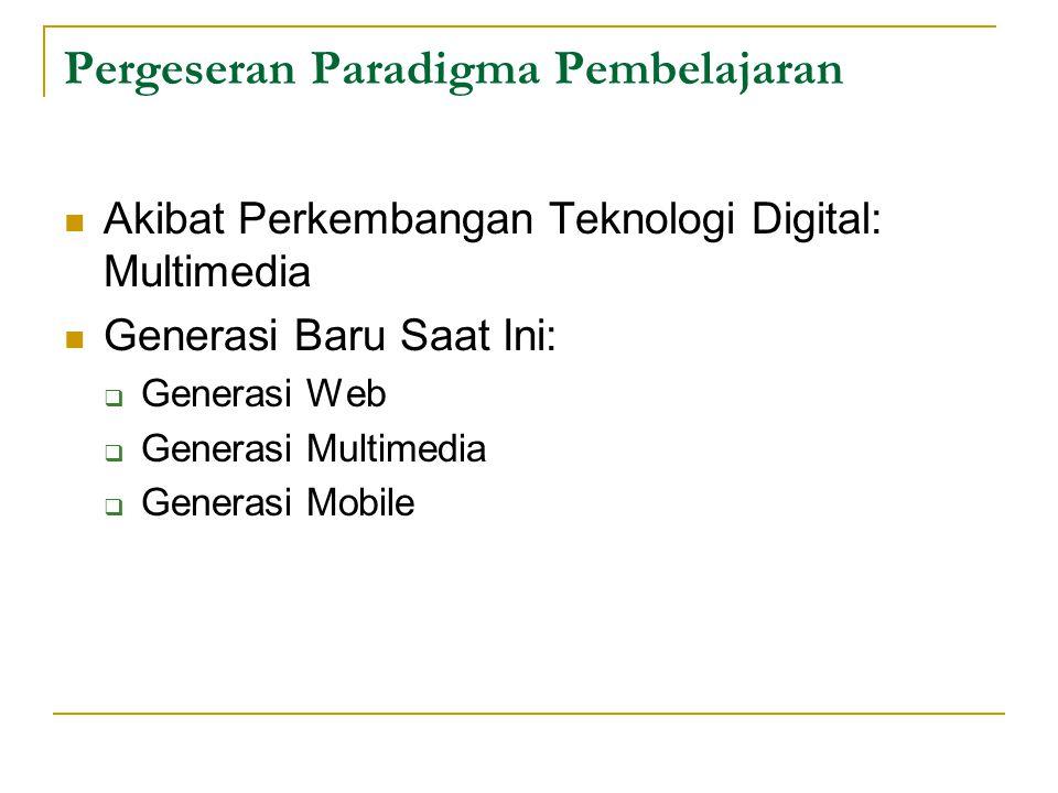 Pergeseran Paradigma Pembelajaran Akibat Perkembangan Teknologi Digital: Multimedia Generasi Baru Saat Ini:  Generasi Web  Generasi Multimedia  Gen