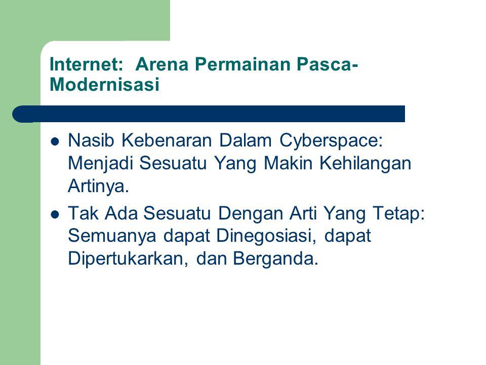 Internet: Arena Permainan Pasca- Modernisasi Nasib Kebenaran Dalam Cyberspace: Menjadi Sesuatu Yang Makin Kehilangan Artinya. Tak Ada Sesuatu Dengan A