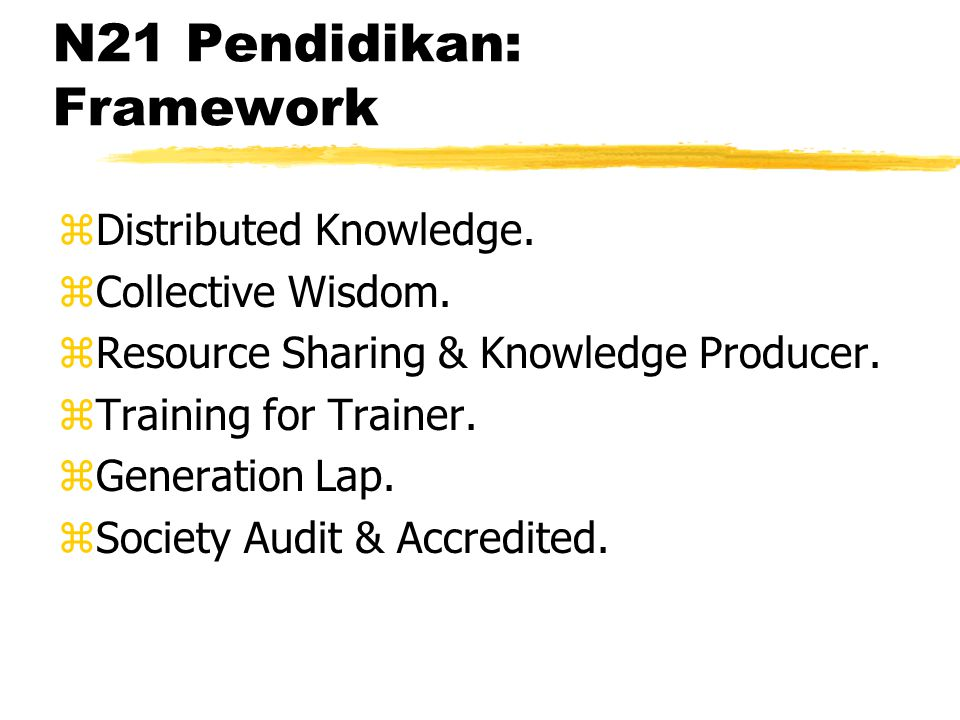 N21 Pendidikan: Framework zDistributed Knowledge. zCollective Wisdom.