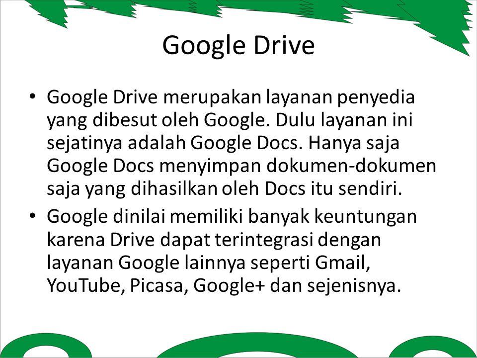 Google Drive merupakan layanan penyedia yang dibesut oleh Google.