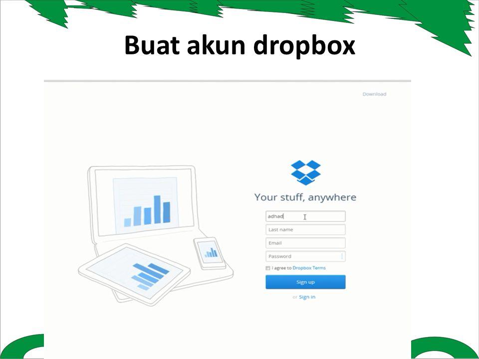 Buat akun dropbox