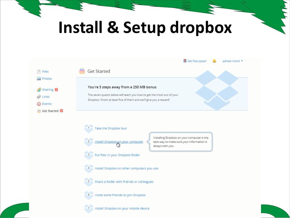Install & Setup dropbox