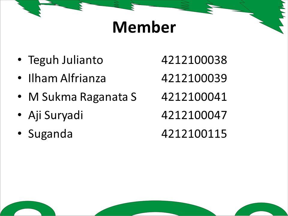 Member Teguh Julianto4212100038 Ilham Alfrianza4212100039 M Sukma Raganata S4212100041 Aji Suryadi4212100047 Suganda4212100115