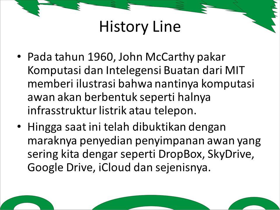 History Line Pada tahun 1960, John McCarthy pakar Komputasi dan Intelegensi Buatan dari MIT memberi ilustrasi bahwa nantinya komputasi awan akan berbentuk seperti halnya infrasstruktur listrik atau telepon.
