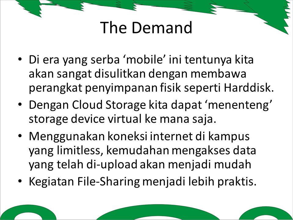 The Demand Di era yang serba 'mobile' ini tentunya kita akan sangat disulitkan dengan membawa perangkat penyimpanan fisik seperti Harddisk.