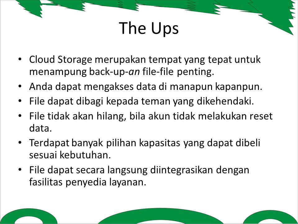 The Ups Cloud Storage merupakan tempat yang tepat untuk menampung back-up-an file-file penting.