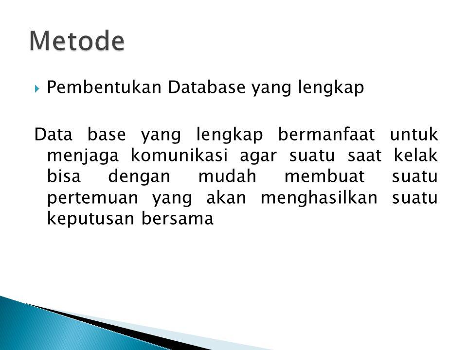  Pembentukan Database yang lengkap Data base yang lengkap bermanfaat untuk menjaga komunikasi agar suatu saat kelak bisa dengan mudah membuat suatu pertemuan yang akan menghasilkan suatu keputusan bersama