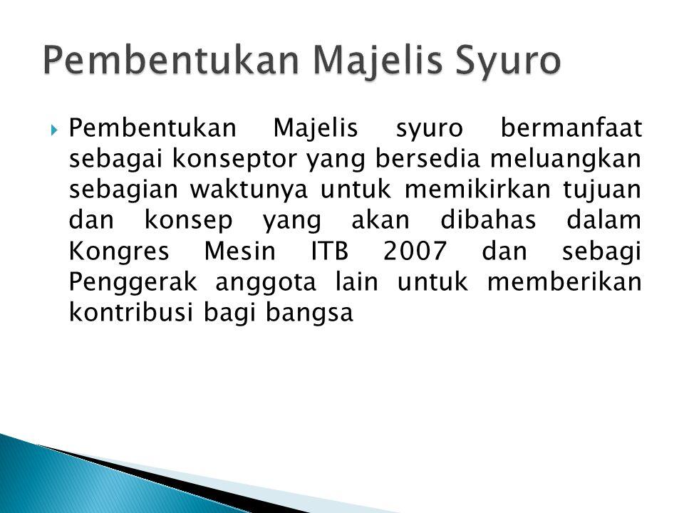  Pembentukan Majelis syuro bermanfaat sebagai konseptor yang bersedia meluangkan sebagian waktunya untuk memikirkan tujuan dan konsep yang akan dibahas dalam Kongres Mesin ITB 2007 dan sebagi Penggerak anggota lain untuk memberikan kontribusi bagi bangsa