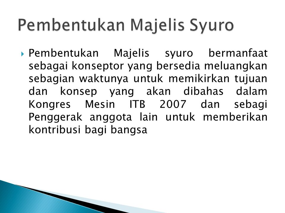  Kongres Mesin ITB 2007 diadakan secara berkala (5 Tahun Sekali) dengan tujuan menjalin silaturahim Alumni Mesin ITB 2007, mengupdate database keberadaan Anggota mesin ITB 2007, mendata ulang peran, fungsi, dan posisi Alumni Mesin ITB 2007 serta sebagai penentu kebijakan tertinggi arah gerak Alumni Mesin ITB 2007