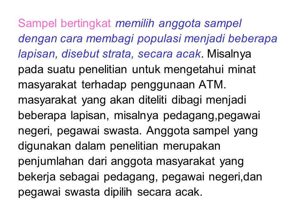 Sampel berkelompok memilih sampel dengan membuat populasi menjadi beberapa kelompok misal dalam satu penelitian bertujuan mengetahui pola perubahan pengeluaran masyarakat di kota Bengkulu.