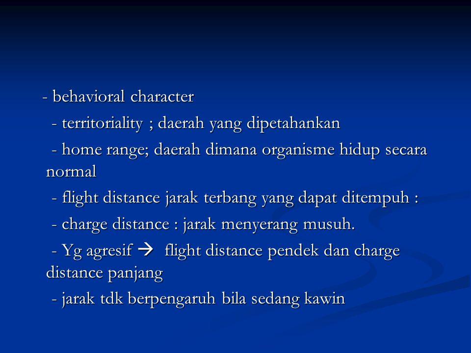 - behavioral character - behavioral character - territoriality ; daerah yang dipetahankan - territoriality ; daerah yang dipetahankan - home range; da
