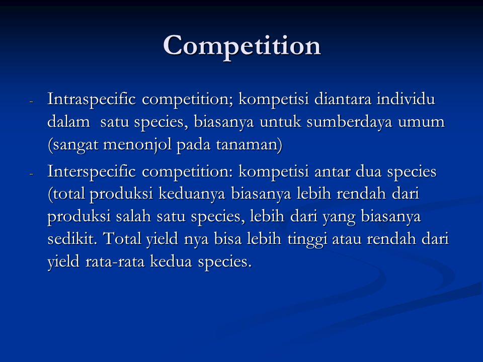 Competition - Intraspecific competition; kompetisi diantara individu dalam satu species, biasanya untuk sumberdaya umum (sangat menonjol pada tanaman)