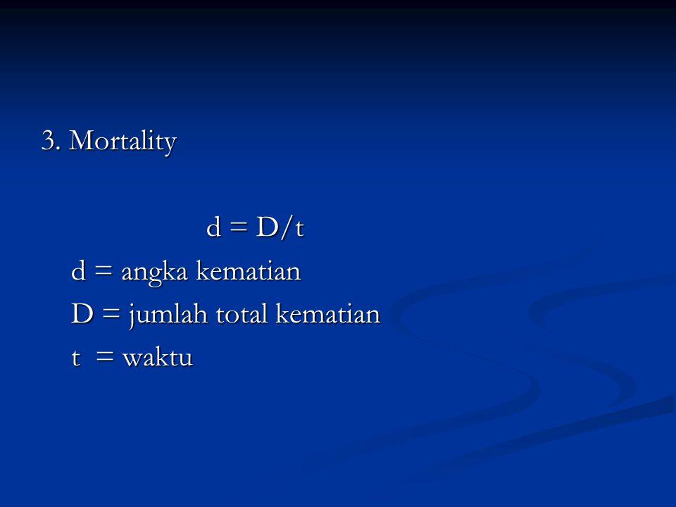 3. Mortality d = D/t d = D/t d = angka kematian d = angka kematian D = jumlah total kematian D = jumlah total kematian t = waktu t = waktu