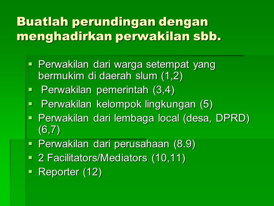 Buatlah perundingan dengan menghadirkan perwakilan sbb.  Perwakilan dari warga setempat yang bermukim di daerah slum (1,2)  Perwakilan pemerintah (3