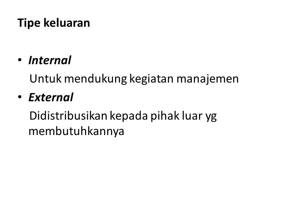 Tipe keluaran Internal Untuk mendukung kegiatan manajemen External Didistribusikan kepada pihak luar yg membutuhkannya