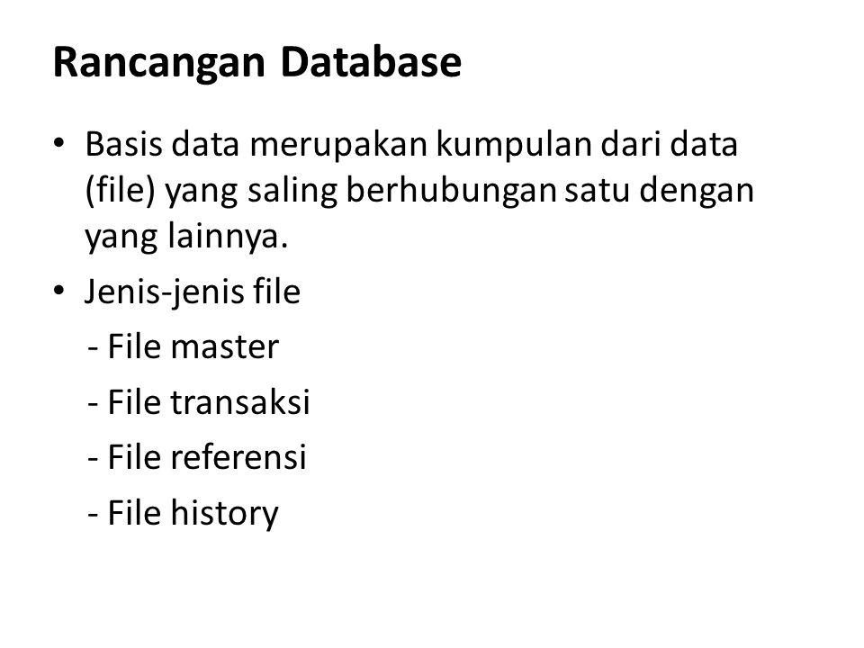 Rancangan Database Basis data merupakan kumpulan dari data (file) yang saling berhubungan satu dengan yang lainnya. Jenis-jenis file - File master - F