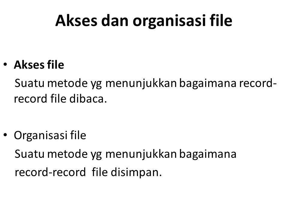 Akses dan organisasi file Akses file Suatu metode yg menunjukkan bagaimana record- record file dibaca. Organisasi file Suatu metode yg menunjukkan bag