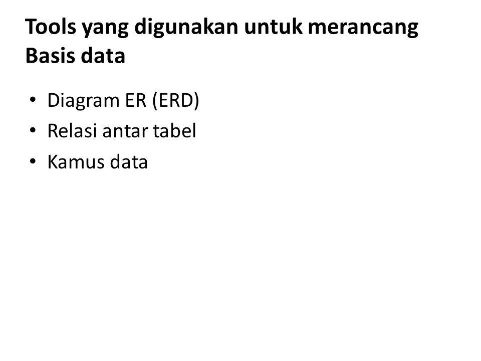 Tools yang digunakan untuk merancang Basis data Diagram ER (ERD) Relasi antar tabel Kamus data