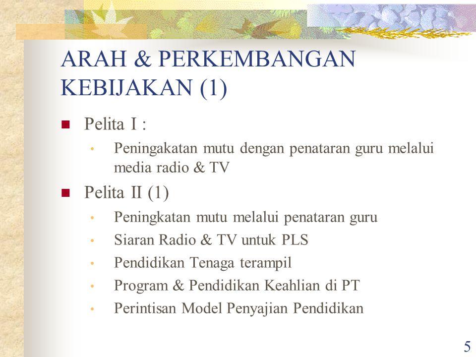 5 ARAH & PERKEMBANGAN KEBIJAKAN (1) Pelita I : Peningakatan mutu dengan penataran guru melalui media radio & TV Pelita II (1) Peningkatan mutu melalui