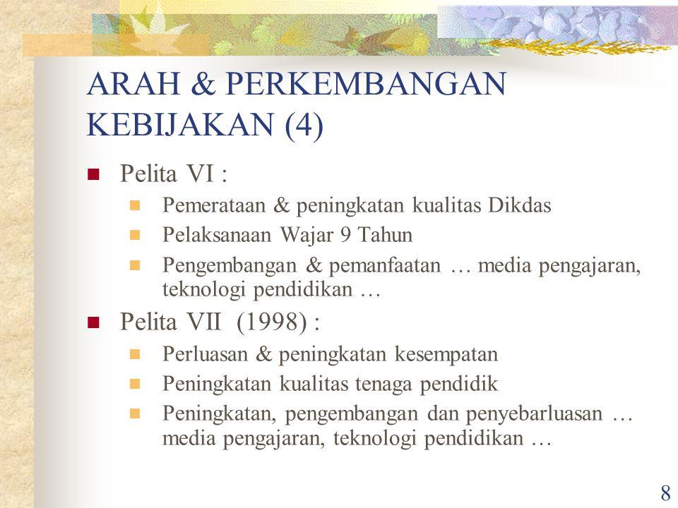8 ARAH & PERKEMBANGAN KEBIJAKAN (4) Pelita VI : Pemerataan & peningkatan kualitas Dikdas Pelaksanaan Wajar 9 Tahun Pengembangan & pemanfaatan … media pengajaran, teknologi pendidikan … Pelita VII (1998) : Perluasan & peningkatan kesempatan Peningkatan kualitas tenaga pendidik Peningkatan, pengembangan dan penyebarluasan … media pengajaran, teknologi pendidikan …
